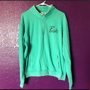 PINK Mint Quarter Zip Sweater